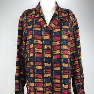 Vintage 100% Silk Blouse Multi Color Size Medium